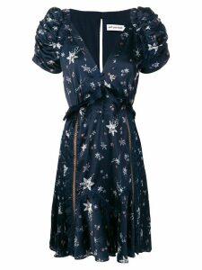 Self-Portrait star print ruffle dress - Blue