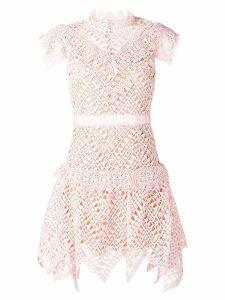 Self-Portrait short lace detail dress - Pink