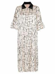 Roksanda Lucina contrasting collar printed midi dress - PINK