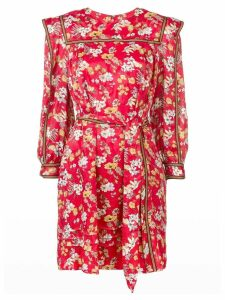 Derek Lam 10 Crosby Belted Bouquet Floral Print Silk-Blend Jacquard