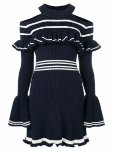 Self-Portrait cold-shoulder ribbed knit dress - Blue