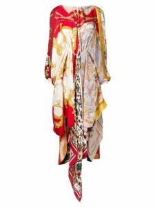 Marine Serre asymmetric printed scarf dress - Red