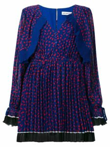Self-Portrait pleated print dress - Blue