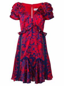 Self-Portrait printed ruffle dress - Red