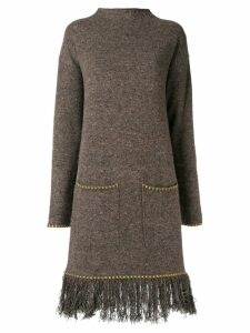 Etro embroidered back sweater dress - Brown