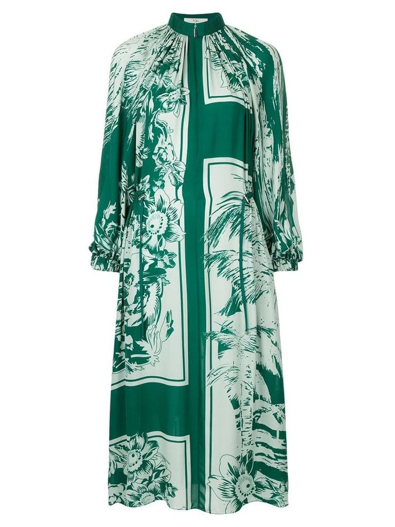Tibi floral print midi dress - Green