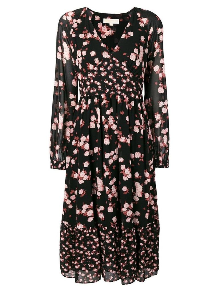 Michael Michael Kors floral long-sleeve dress - Black
