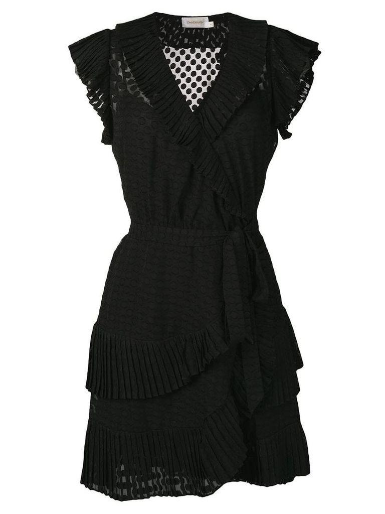 Zimmermann Plisse mini wrap dress - Black