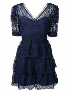 Self-Portrait lace ruffled dress - Blue