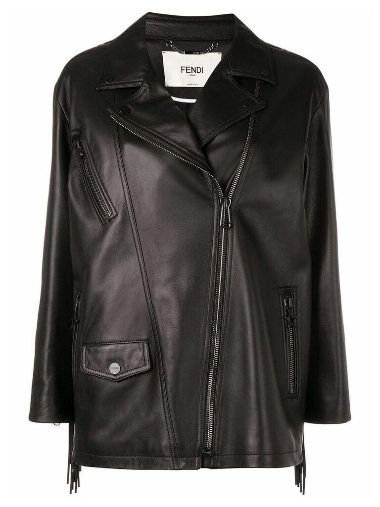 Fendi fringed biker jacket - Black