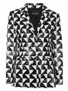 Cynthia Rowley illusion geometric sequin blazer - Black