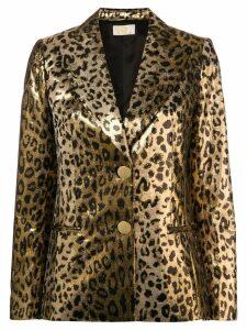 Sara Battaglia leopard blazer - Gold
