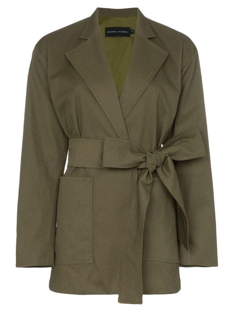 Michael Lo Sordo belted long denim blazer - Green
