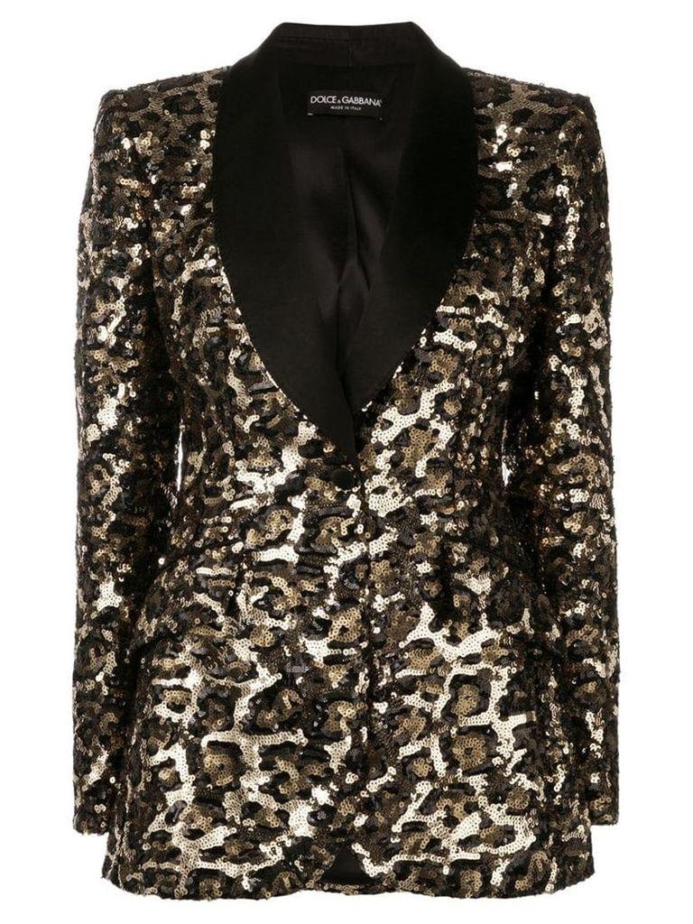 Dolce & Gabbana leopard sequin blazer - Black