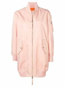 Red Valentino Love You longline bomber jacket - Pink