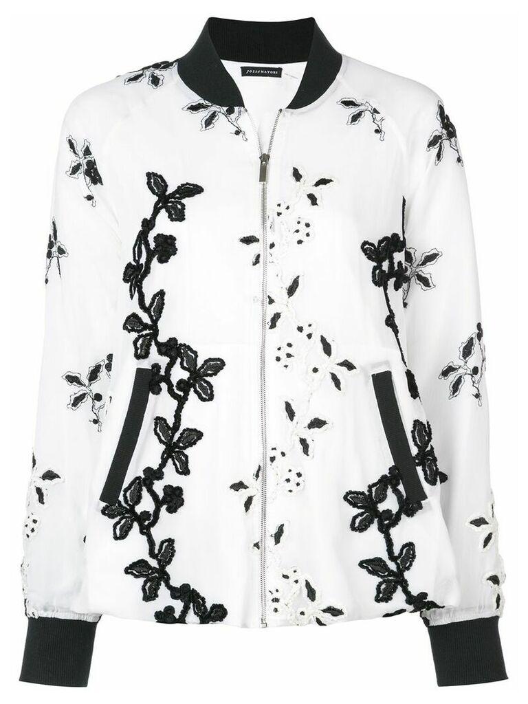 Josie Natori embroidered bomber jacket - White