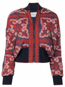 Valentino logo print bomber jacket - Red