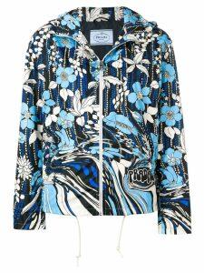 Prada floral print windbreaker jacket - Blue