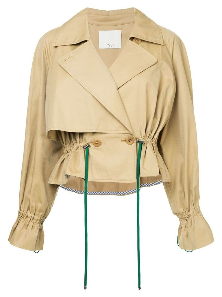 Tibi cropped trench coat - Brown