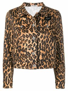 Miu Miu leopard denim jacket - Brown