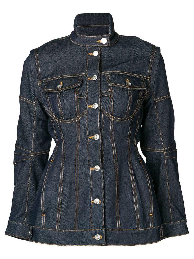 Marine Serre fitted denim jacket - Blue