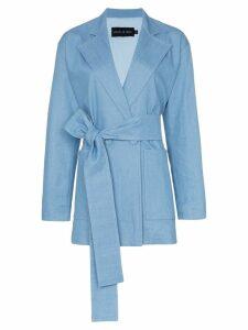 Michael Lo Sordo long belted denim blazer - Blue