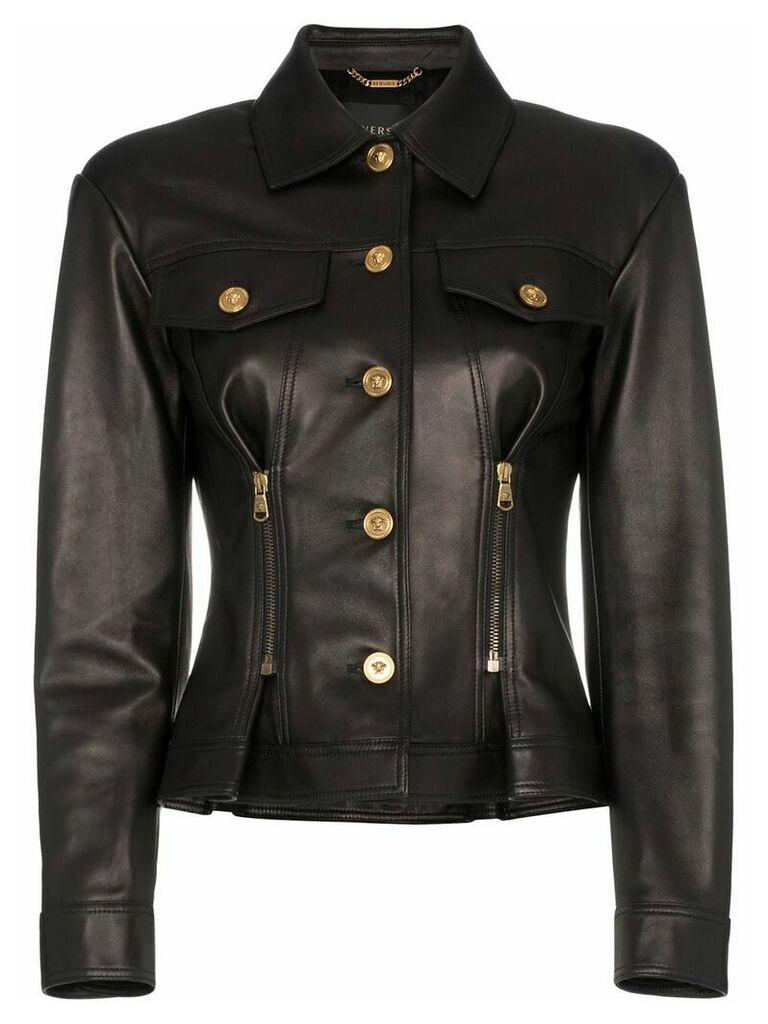 Versace leather button down zip detail jacket - Black
