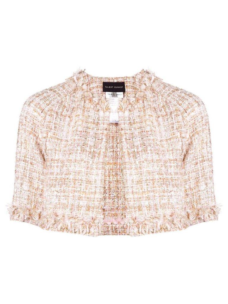 Talbot Runhof tweed cropped jacket - Neutrals
