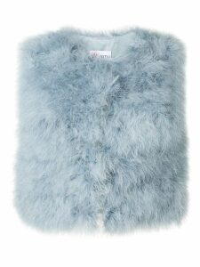 Red Valentino marabou cropped gilet - Blue