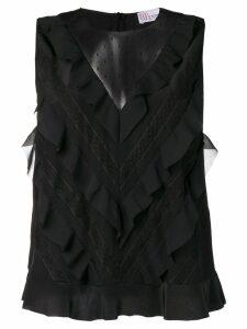 Red Valentino sleeveless ruffled blouse - Black