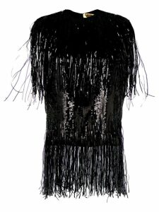 MSGM fringed sequinned top - Black