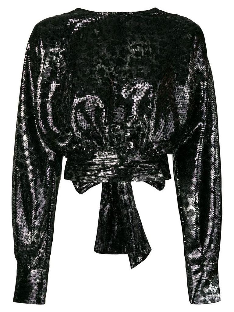 MSGM leopard print sequin top - Silver