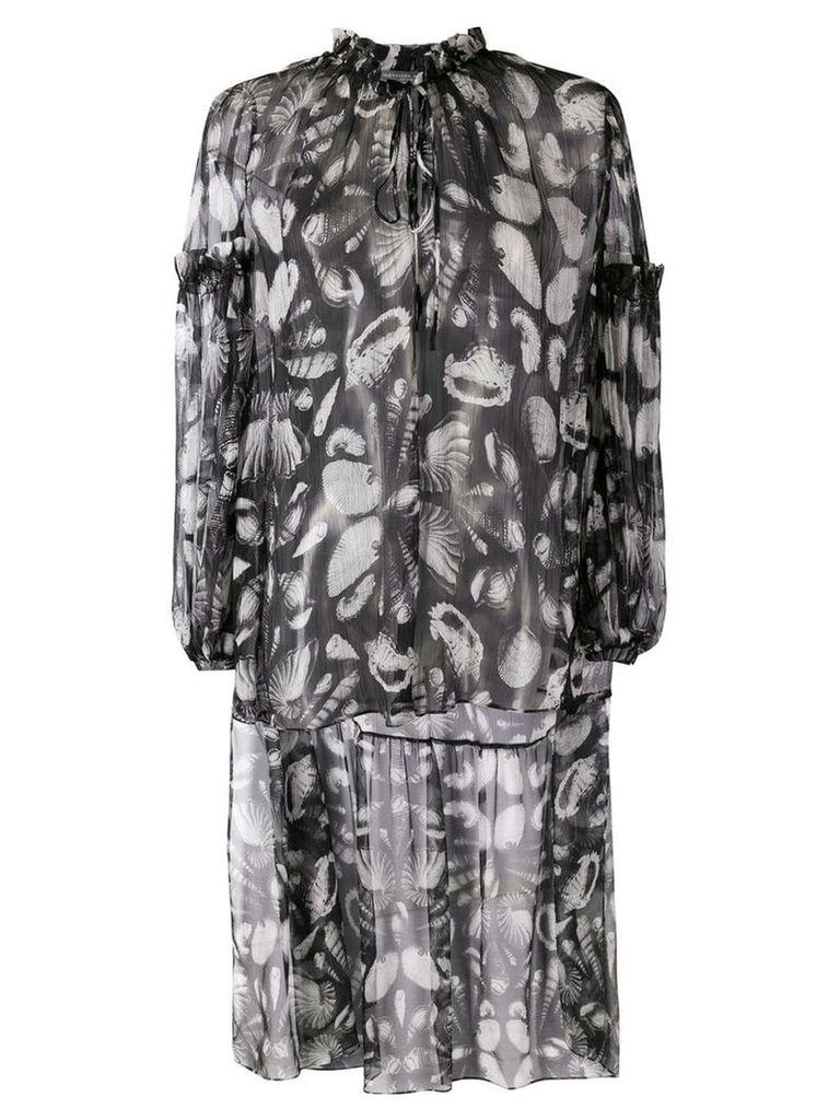 Alexander McQueen seashell print high-low blouse - Black