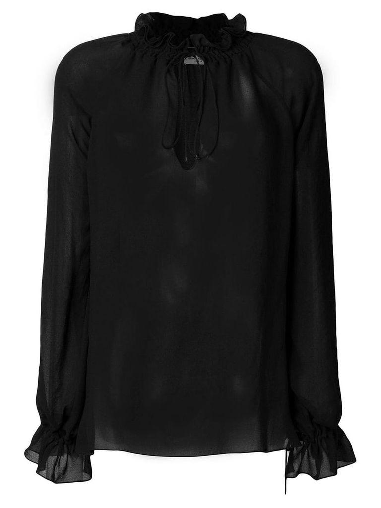 Saint Laurent semi-sheer Pirate blouse - Black