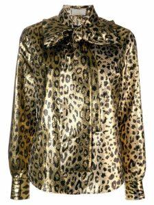 Sara Battaglia leopard bow blouse - Gold