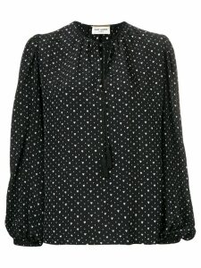 Saint Laurent heart print lace up blouse - Black