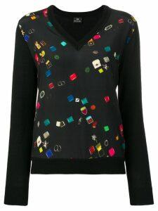 PS Paul Smith v-neck panelled blouse - Black