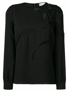 Red Valentino tulle bow blouse - Black