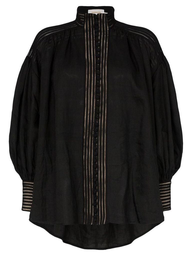 Zimmermann corsage linear button down blouse - Black