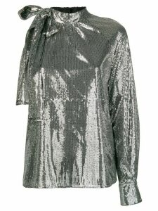 MSGM one sleeve sequin top - Silver