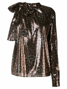 MSGM leopard sequinned blouse - Brown