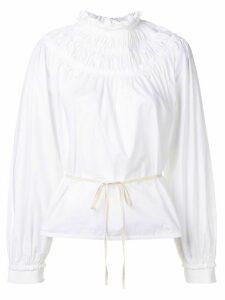 Proenza Schouler Poplin Shirred Turtleneck Top - White