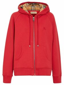 Burberry Vintage Check Detail Jersey Hooded Top - Red