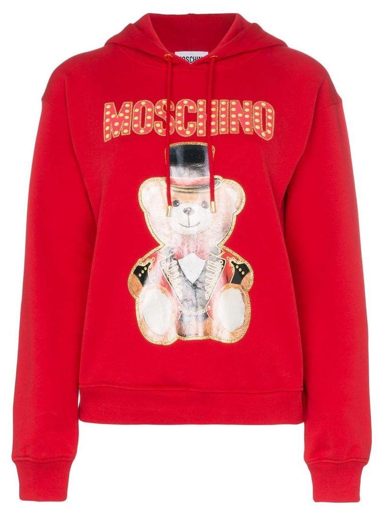 Moschino logo bear print hoodie - Red