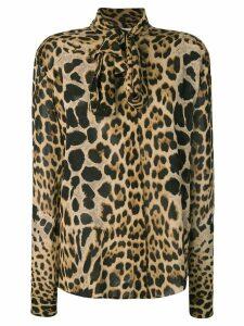Saint Laurent leopard print pussybow shirt - Brown