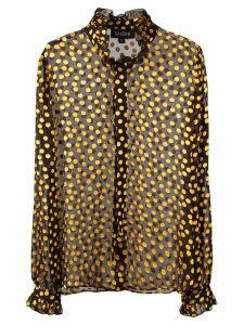 Saloni sheer polka dot shirt - Black