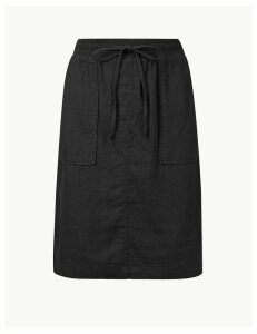 M&S Collection Linen Rich A-Line Skirt