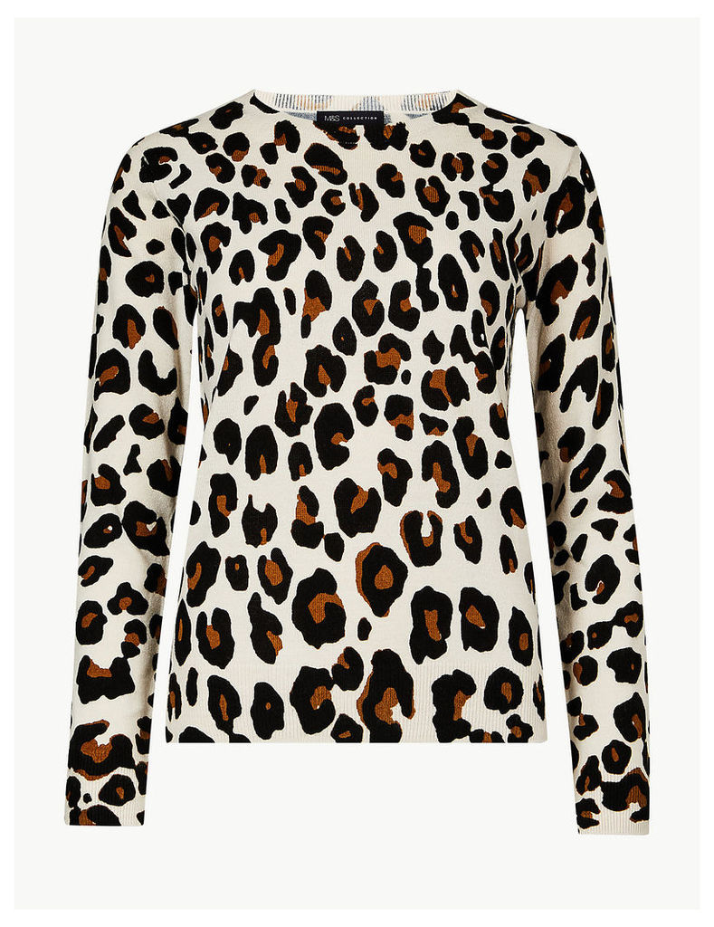 M&S Collection Animal Print Round Neck Jumper