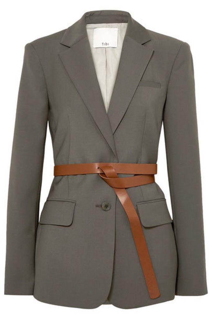 Tibi - Tablier Belted Woven Blazer - Dark gray