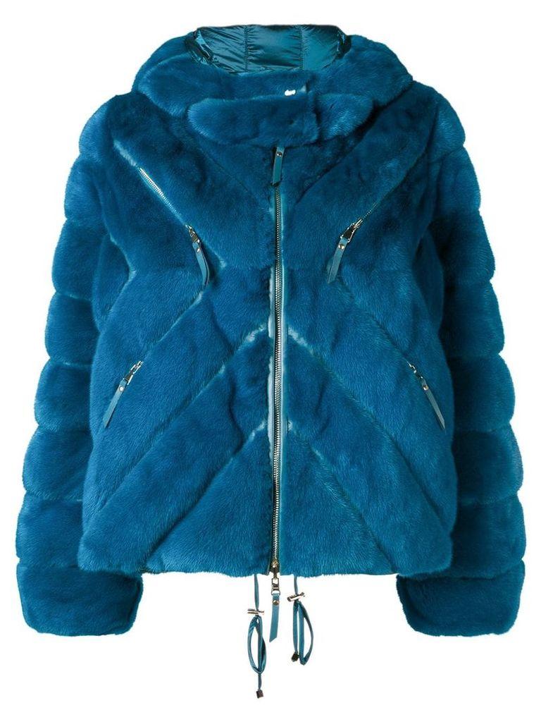 Liska short hooded coat - Blue